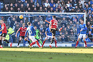 Barnsley Defender, Daniel Pinillos (23) with a shot from distance during the EFL Sky Bet League 1 match between Portsmouth and Barnsley at Fratton Park, Portsmouth, England on 23 February 2019.