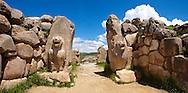 Photo of the Hittite releif sculpture on the Lion gate to the Hittite capital Hattusa 2