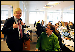 London Mayor Boris Johnson in his campaign office in London, during the Mayoral Campaign,  London, UK, April 18, 2012. Photo By Andrew Parsons / i-Images.