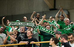 Supporters of Petrol Olimpija during basketball match between KK Krka Novo mesto and  KK Petrol Olimpija in 4th Final game of Liga Nova KBM za prvaka 2017/18, on May 27, 2018 in Sports hall Leona Stuklja, Novo mesto, Slovenia. Photo by Vid Ponikvar / Sportida