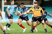 Lalakai Foketi runs at James Tucker. NSW Waratahs v ACT Brumbies. 2021 Super Rugby AU Round 7 Match. Played at Sydney Cricket Ground on Friday 2 April 2021. Photo Clay Cross / photosport.nz