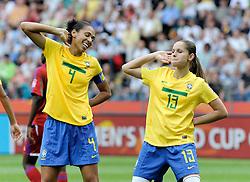 06-07-2011 VOETBAL: FIFA WOMENS WORLDCUP 2011 EQUATORIAL GUINEA - BRAZIL: FRANKFURT<br /> Torjubel - ALINE ( #4 BRA ) und Torschuetzin ERIKA ( #13 BRA )<br /> ***NETHERLANDS ONLY***<br /> ©2011-FRH- NPH/Nollert