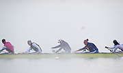 Aiguebelette, FRANCE,   RUS W8+, stretching, at the end of the  lake in the Misty low laying clouds.       2015 FISA World Rowing Championships, Venue, Lake Aiguebelette - Savoie. <br /> <br /> Sunday  06/09/2015  [Mandatory Credit. Peter SPURRIER/Intersport Images]. © Peter SPURRIER, Atmospheric, Rowing