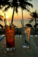 """""""Sundowners"""" at the Tropicana Resort, Long Beach. Though mostly devoted to Nuoc Mam or fish sauce, in recent years Phu Quoc has become a popular tropical retreat thanks to the islands excellent white sand beaches, affordable bungalows and hotels and fresh seafood and fabulous sunsets."""