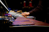 Looking down the line of marimbas and various other percussion instruments during Rowan University's 2010 presentation of The Percussion Ensemble and The Marimba Band.