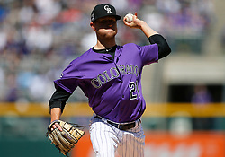 April 8, 2018 - Denver, CO, U.S. - DENVER, CO - APRIL 08: Colorado Rockies starting pitcher Kyle Freeland (21) pitches during the first inning of a regular season MLB game between the Colorado Rockies and the visiting Atlanta Braves on April 8, 2018 at Coors Field in Denver, CO. (Photo by Russell Lansford/Icon Sportswire) (Credit Image: © Russell Lansford/Icon SMI via ZUMA Press)