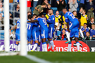 Gillingham players celebrate a goal during the EFL Sky Bet League 1 match between Gillingham and Charlton Athletic at the MEMS Priestfield Stadium, Gillingham, England on 22 October 2016. Photo by Andy Walter.