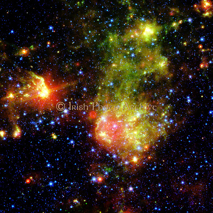 Supernova remnant 1E0102.2-7219  next to Nebula N76 in a bright, star-forming region of the Small Magellanic Cloud, a  located about 200,000 light-years from Earth. Credit NASA. Science Astronomy