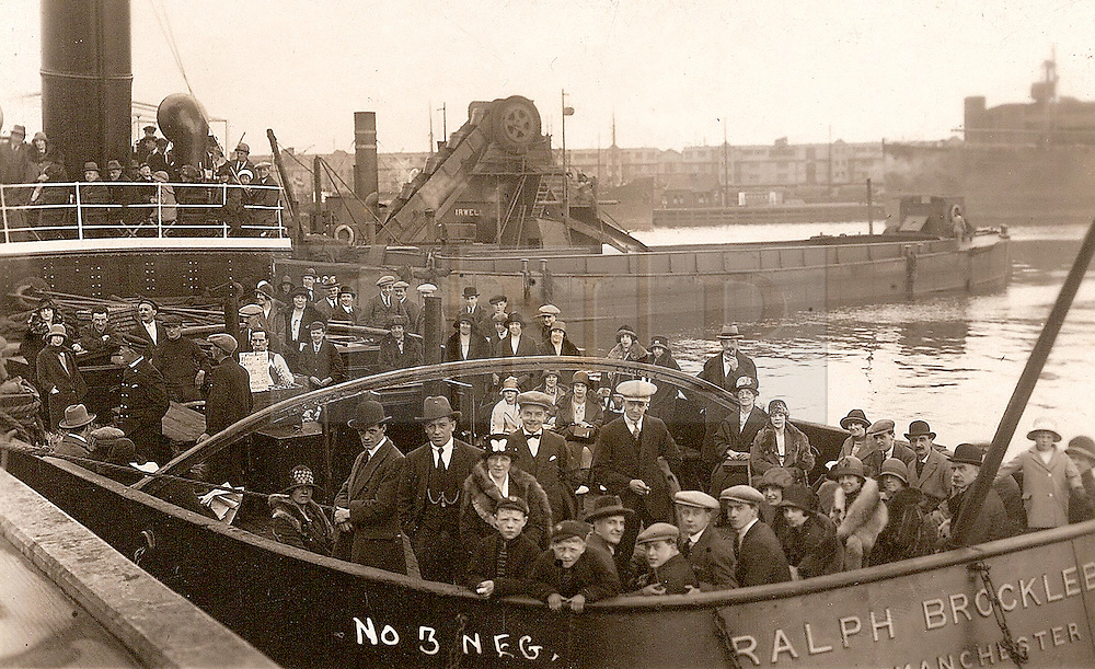 """© Licensed to London News Pictures. 30/09/2016. Birkenhead UK. Collect picture shows passengers on the Ralph Brocklebank (Daniel Adamson) in the 1920's. The Daniel Adamson steam boat has been bought back to operational service after a £5M restoration. The coal fired steam tug is the last surviving steam powered tug built on the Mersey and is believed to be the oldest operational Mersey built ship in the world. The """"Danny"""" (originally named the Ralph Brocklebank) was built at Camel Laird ship yard in Birkenhead & launched in 1903. She worked the canal's & carried passengers across the Mersey & during WW1 had a stint working for the Royal Navy in Liverpool. The """"Danny"""" was refitted in the 30's in an art deco style. Withdrawn from service in 1984 by 2014 she was due for scrapping until Mersey tug skipper Dan Cross bought her for £1 and the campaign to save her was underway. Photo credit: Andrew McCaren/LNP"""