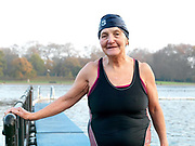 Emmi Hunte, a member of the Serpentine Swimming Club, Hyde Park, London, UK. The Serpentine Lake is situated in Hyde Park, London's largest central open space. The Serpentine Swimming Club was formed in 1864 'to promote the healthful habit of bathing in open water throughout the year'.  Its headquarters were beneath an old elm tree on the south side of the lake, a wooden bench for clothing being the only facility.  At this time London was undergoing rapid expansion and Hyde Park was now in the centre of a densely populated built up area and provided a place of relaxation to its urbanised masses. Now, the club has its own (somewhat spartan) changing facilities and members are  permitted by the Royal Parks to swim in the lake any morning before 09:30.  They race every Saturday morning throughout the year, regardless of the weather.