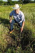Kenneth Goodin shows an unusual cactus that normally grows only about 50 miles west of his property.