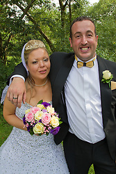 Visually impaired bride with her brother.