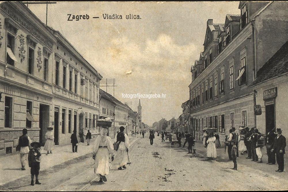Zagreb : Vlaška ulica. <br /> <br /> Impresum[S. l. : S. n., 1907].<br /> Materijalni opis1 razglednica : tisak ; 8,9 x 13,9 cm.<br /> Vrstavizualna građa • razglednice<br /> ZbirkaZbirka razglednica • Grafička zbirka NSK<br /> ProjektPozdrav iz Hrvatske<br /> Formatimage/jpeg<br /> PredmetZagreb –– Vlaška ulica<br /> Jezikhrvatski<br /> SignaturaRZG-VLA-5<br /> Obuhvat(vremenski)20. stoljeće<br /> NapomenaRazglednica je putovala 1907. godine.<br /> PravaJavno dobro<br /> Identifikatori000952481<br /> NBN.HRNBN: urn:nbn:hr:238:540531 <br /> <br /> Izvor: Digitalne zbirke Nacionalne i sveučilišne knjižnice u Zagrebu