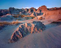 Badlands rock formations at dusk, Badlands National Park South Dakota USA