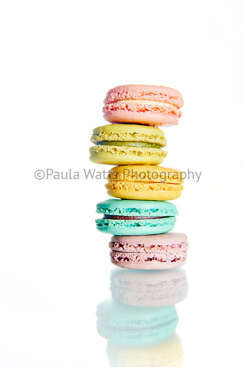 Macaroons stacked on white background San Diego Food Photographer