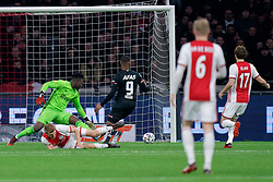 Perr Schuurs #2 of Ajax, André Onana #24 of Ajax no change by scorer Myron Boadu #9 of AZ Alkmaar during the Dutch Eredivisie match round 25 between Ajax Amsterdam and AZ Alkmaar at the Johan Cruijff Arena on March 01, 2020 in Amsterdam, Netherlands