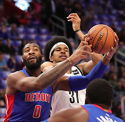 October 17, 2018 - Detroit, MI, USA - The Detroit Pistons' Andre Drummond, left, rebounds against the Brooklyn Nets' Jarrett Allen in the first period on Wednesday, Oct. 17, 2018, at Little Caesars Arena in Detroit. (Credit Image: © Kirthmon F. Dozier/Detroit Free Press/TNS via ZUMA Wire)