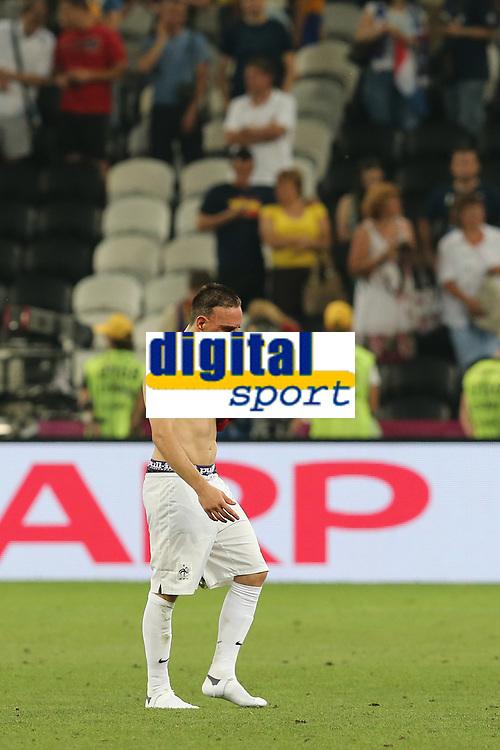 FOOTBALL - UEFA EURO 2012 - DONETSK - UKRAINE  - 1/4 FINAL - SPAIN v FRANCE - 23/06/2012 - PHOTO PHILIPPE LAURENSON /  DPPI - DESPAIR FRANCK RIBERY (FRA)