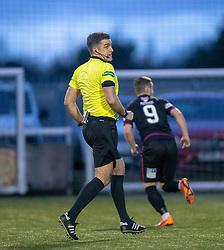 Ref Greg Aitken. Stenhousemuir 1 v 4 Arbroath, Scottish Football League Division One play12/1/2019 at Ochilview Park.