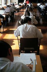 Schoolchildren sitting Key Stage 3 SATS exam; secondary school UK
