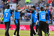 Wicket - Ed Barnard of Worcestershire celebrates taking the wicket of Liam Livingstone of Lancashire during the Vitality T20 Finals Day Semi Final 2018 match between Worcestershire Rapids and Lancashire Lightning at Edgbaston, Birmingham, United Kingdom on 15 September 2018.