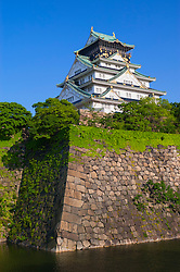 Exterior view of Osaka castle in Japan