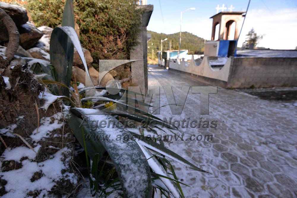 OCOYOACAC, México.- (Enero 30, 2018).- La noche del lunes se registro la caída de agua nieve en la zona de La Marquesa y Cuajimalpa, en la Ciudad de México, dejando una capa blanca en la este lugar, dejando un paisaje nevado. Agencia MVT / Crisanta Espinosa.