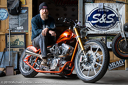 Bill Dodge in his Daytona Beach shop with his Twin Cam Harley-Davidson rigid Blings Cycles custom with its Zach Johnson KJC finessed 106 ci Twin Cam engine. Daytona Beach, FL. USA. Sunday, March 17, 2019. Photography ©2019 Michael Lichter.