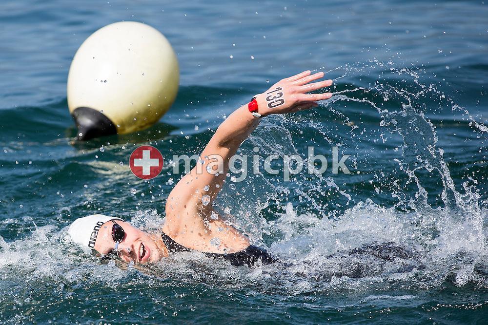 Leonie Beck of winning team Germany competes in the 3km Team Event during the LEN European Junior Open Water Swimming Championships held in the lake Maggiore (Lago Maggiore) at the Centro sportivo nazionale della gioventu in Tenero, Switzerland, Sunday, July 12, 2015. (Photo by Patrick B. Kraemer / MAGICPBK)