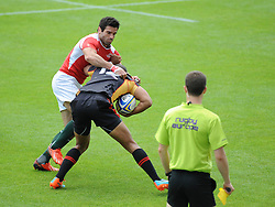 Anjo Buckman of Germany comes up against David Mateus of Portugal - Photo mandatory by-line: Dougie Allward/JMP - Mobile: 07966 386802 - 11/07/2015 - SPORT - Rugby - Exeter - Sandy Park - European Grand Prix 7s
