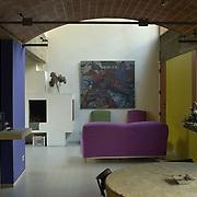 Paris, France, 2004: View of the living room, Jaoul house (1952) at 82 bis, rue de Longchamp - Le Corbusier arch - . Photographs by Alejandro Sala, (Historical archive AS)