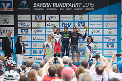 Radsport: 36. Bayern Rundfahrt 2015 / 4. Etappe, Zeitfahren, Hassfurt, 16.05.2015<br /> Cycling: 36th Tour of Bavaria 2015 / Stage 4, <br /> time trial, Hassfurt, 16.05.2015<br /> # 45 Lagutin, Sergey (RUS, TEAM KATUSHA), # 32 Dowsett, Alex (GBR, MOVISTAR TEAM) , # 112 Barta, Jan (CZE, Team BORA-ARGON 18)
