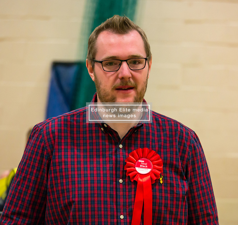 Haddington & Lammermuir by-election count. Haddington, East Lothian, Scotland, United Kingdom, 10 May 2019. Pictured:   Neil Black, Scottish Labour Party. The election takes place of one councillor in Ward 5 of East Lothian Council due to the resignation of Councillor Brian Small. The successful candidate represents this ward along with the three existing councillors. The by-election uses the Single Transferable Vote (STV) system in which voters can rank candidates in order of preference and can choose to vote for as many or as few candidates as they like. The election fields 5 candidates from Scottish National Party (SNP), Scottish Labour Party, Scottish Conservatives and Unionist Party, Scottish Liberal Democrats and UK Independence Party (UKIP).<br /> <br /> Sally Anderson   EdinburghElitemedia.co.uk