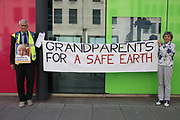 A group of grandparents and elders chained themselves together in a government department building in Westminster to urge the government to oppose 'dangerous' fracking on June 13th 2018 in London, United Kingdom. Aged between 63 and 82, the 10-strong group from the South West Grandparents for a Safe Earth, GFASE, occupied the Westminster building to demand that the Secretary of State for the Department for Business, Energy and Industrial Strategy to refuse permission for fracking.