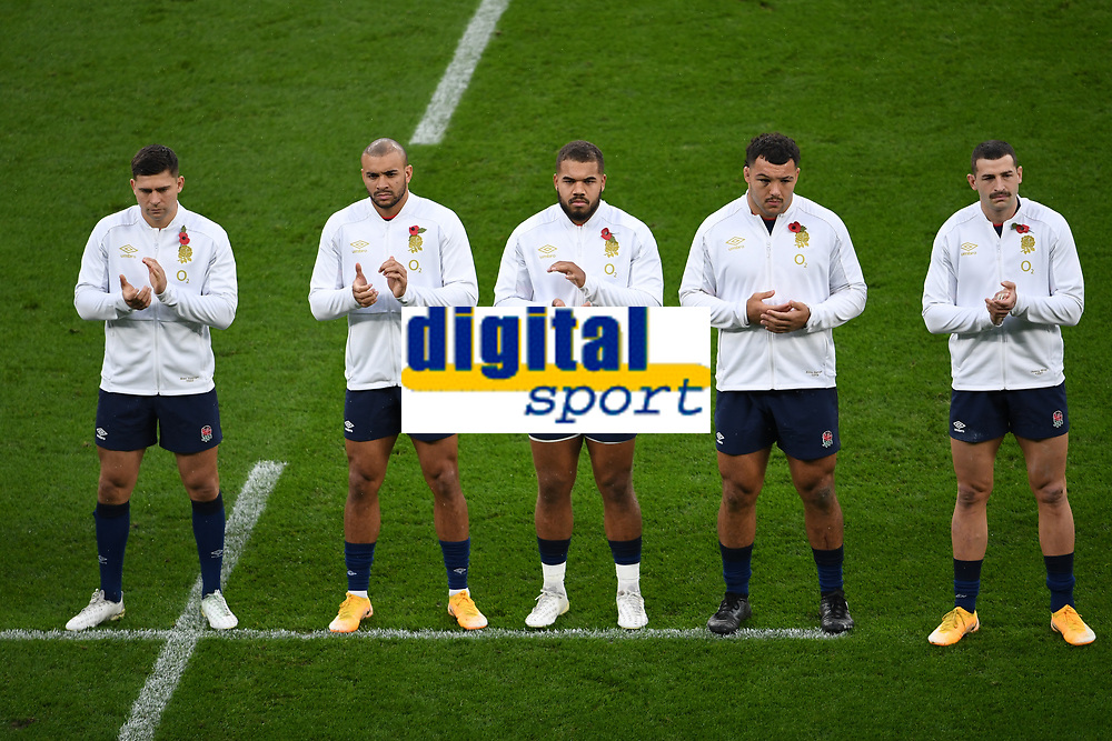 Rugby Union - 2020 Autumn Nations Cup - England vs Georgia - Twickenham<br /> <br /> England players observe a minute's applause before the game.<br /> <br /> COLORSPORT/ASHLEY WESTERN