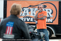 Bert Baker at the Baker Drivetrain sponsored drags at the Sturgis Dragway during the 75th Annual Sturgis Black Hills Motorcycle Rally.  SD, USA.  August 4, 2015.  Photography ©2015 Michael Lichter.