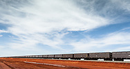 Empty iron ore train waits near the West Australian port of Port Hedland in the north west of the state.