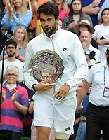 Lawn Tennis - 2021 All England Championships - Men's Final Sunday - Wimbledon - Novak Djokovic  v Matteo Berrettini on Centre Court<br /> <br /> Matteo Berrettini with his runners up plate <br /> <br /> Credit : COLORSPORT / Andrew Cowie
