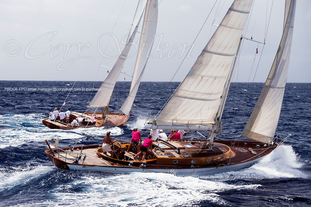 Spirited Lady of Fowey sailing in the Antigua Classic Yacht Regatta, Old Road Race.