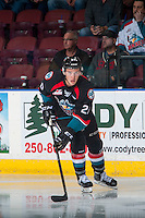 KELOWNA, CANADA - SEPTEMBER 28: Connor Bruggen-Cate #20 of Kelowna Rockets skates with the puck against the Prince George Cougars on September 28, 2016 at Prospera Place in Kelowna, British Columbia, Canada.  (Photo by Marissa Baecker/Shoot the Breeze)  *** Local Caption *** Connor Bruggen-Cate;