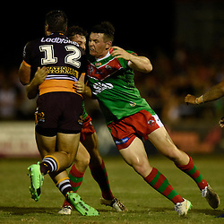 BRISBANE, AUSTRALIA - FEBRUARY 18: Alex Barr of the Broncos is tackled by Brad Mana of Wynnum Manly during the QLD Rugby League Intrust Super Cup Pre-Season match between Wynnum Manly and Brisbane Broncos at Kougari Oval on February 18, 2017 in Brisbane, Australia. (Photo by Patrick Kearney/Wynnum Manly Seagulls)