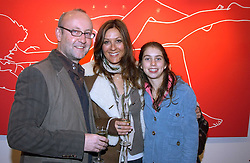 Left to right, SEBASTIAN SAINSBURY, CARMAN DUDLEY and her daughter NATASHA DUDLEY at a private view of artist Natasha Law's work entitled 'Hold' held at Eleven, 11 Eccleston Street, London SW1 on 12th January 2006.<br />