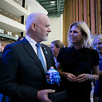 The Peter Thomson, President of the 71st session of the General Assembly talks with Ms. Alexandra Richards and Sir Richard Branson at the World Ocean Day reception during The Ocean Conference at the UN in New York on June 08, 2017.