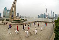 Morning tai chi in Huangu Park, next to the Bund, Shanghai, China