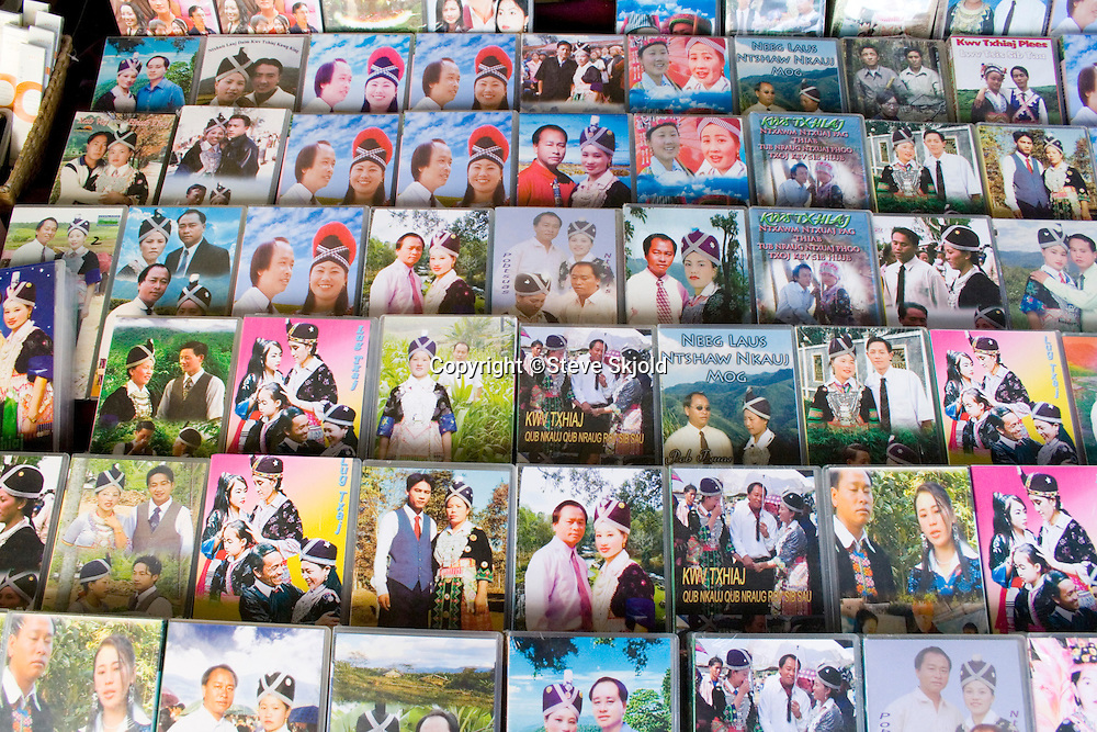 Display of Hmong SE Asian DVD videos for sale. Hmong Sports Festival McMurray Field St Paul Minnesota USA