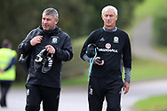 Ex Wales international and Liverpool star Ian Rush, now in the Welsh FA coaching set up arrives for the training session with Wales coach Osian Roberts (l). Wales football team training at the Vale Resort in Hensol , South Wales on Monday 2nd October 2017, the team are preparing for their FIFA World Cup qualifier away to Georgia this week. pic by Andrew Orchard, Andrew Orchard sports photography