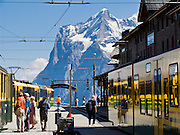 """The Wetterhorn or """"Weather Peak"""" (12,143 feet) rises above Kleine Scheidegg train station in the Berner Oberland, Switzerland, the Alps, Europe. Wengernalpbahn, the world's longest continuous rack and pinion railway, goes from Grindelwald up to Kleine Scheidegg and down to Wengen and Lauterbrunnen. From Kleine Scheidegg, another cog train (Jungfraubahn) ascends steeply inside the Eiger to Jungfraujoch, the highest railway station in Europe. The Bernese Highlands are the upper part of Bern Canton. UNESCO lists """"Swiss Alps Jungfrau-Aletsch"""" as a World Heritage Area (2001, 2007)."""