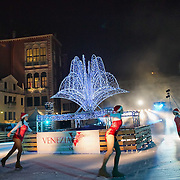 VENICE, ITALY - DECEMBER 08:  Skaters performs during the opening of the first ever Venice Ice rink on December 8, 2011 in Venice, Italy. HOW TO LICENCE THIS PICTURE: please contact us via e-mail at sales@xianpix.com or call our offices in London   +44 (0)207 1939846 for prices and terms of copyright. First Use Only ,Editorial Use Only, All repros payable, No Archiving.© MARCO SECCHI