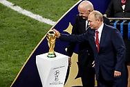 FIFA President Gianni Infantino and Russia President Vladimir Putin with the World Cup trophy during the trophies ceremony after the 2018 FIFA World Cup Russia, final football match between France and Croatia on July 15, 2018 at Luzhniki Stadium in Moscow, Russia - Photo Tarso Sarraf / FramePhoto / ProSportsImages / DPPI