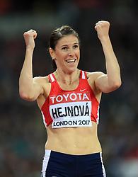 Czech Republic's Zuzana Hejnova celebrates winning the Women's 400m Hurdles semi-final heat one during day five of the 2017 IAAF World Championships at the London Stadium.